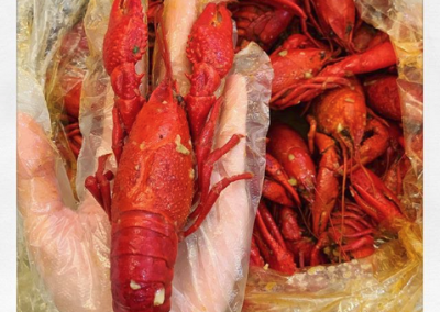 Live crawfish cooked with ultimate sauce